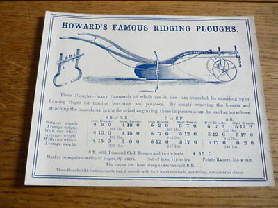 HOWARD RIDGING PLOUGH BROCHURE 1925?   jm