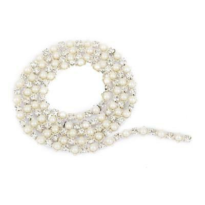 Crystal Rhinestone Pearl Diamante Trimmings Close Chain Sewing Craft 1Yds