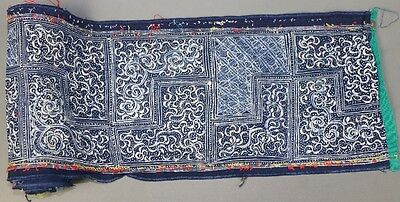 Vintage tribal chinese ethnic miao people's hand batik fabric textile roll 3.05M