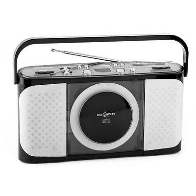 Compact Portable Vintage Radio Tuner Cd Player Travel Stereo Retro Hifi - Black