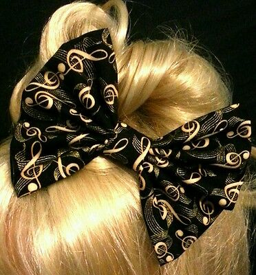 "6"" Large Black & Gold music notes hair bow clip. Gatsby. Vintage. Pin up. Gift"