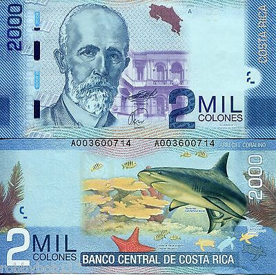 COSTA RICA 2000 Colones Banknote World Currency Money BILL p 275 Shark Fish Note