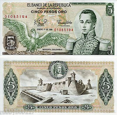 COLOMBIA 5 Pesos Banknote World Money Currency BILL South America p406f Note