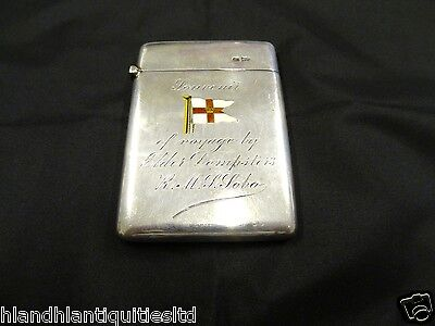 Antique Silver Card Case With Enamelled Pennant, Sheffield, Walker & Hall, 1904