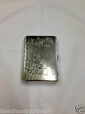 Antique Purse Type Silver Card Case With Engraved Birds In Scroll Panels, 1885
