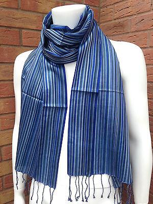 Paul Smith Blue/grey/black Multi Stripe 100% Silk Tassel Scarf Bnwt