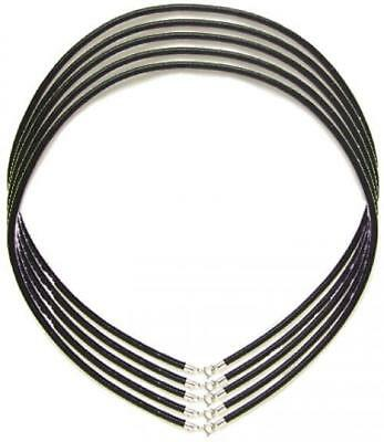 5 x Black 3mm Leather Cord Necklace 925 Sterling Silver