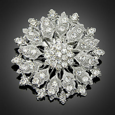 5CM Large Clear rhinestone crystal flower cluster wedding prom women brooch pin