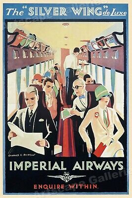 1930s The Silver Wing Imperial Airways Vintage Style Airline Travel Poster 20x30