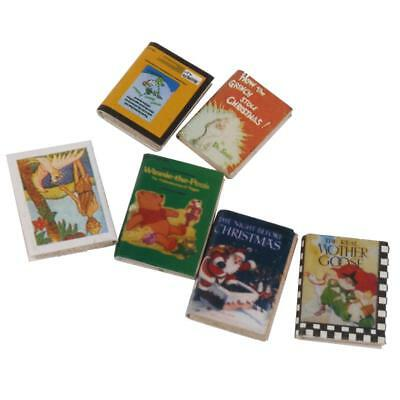 Set 6pcs Dolls House Miniature Books Magazine Fiction Study School Accessory