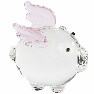 WHEN PIGS FLY, CLEAR GLASS WITH PINK WINGS, NEW IN BOX, PIER 1, PENELOPE THE PIG