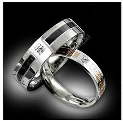 Free ship 1pc Diamante Titanium Steel Lovers Promise Rings Couple Wedding Bands