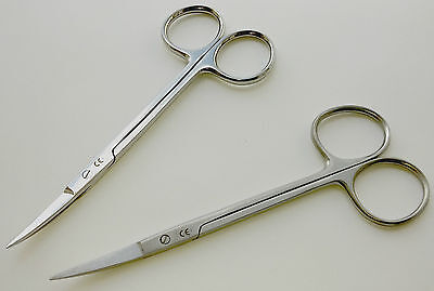 "4.5"" Curved Iris Scissors : Choose Satin / Polished :  VeterinaryDIY NEW"