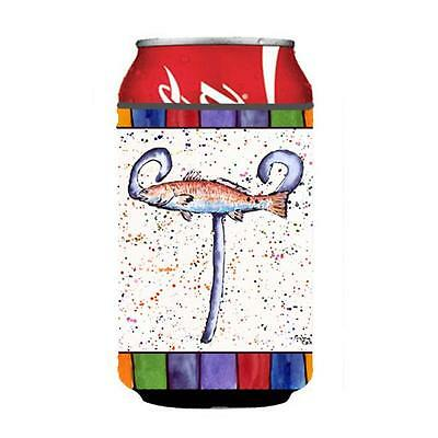 Carolines Treasures 8443-TCC Letter T With Red Fish Can Or Bottle Hugger