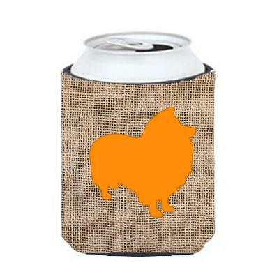 Carolines Treasures Sheltie Burlap And Orange Can Or Bottle Hugger