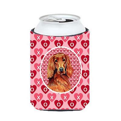 Irish Setter Valentines Love and Hearts Can or bottle sleeve Hugger