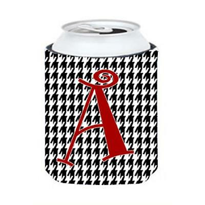 Carolines Treasures Letter A Monogram Houndstooth Black Can Or Bottle Hugger