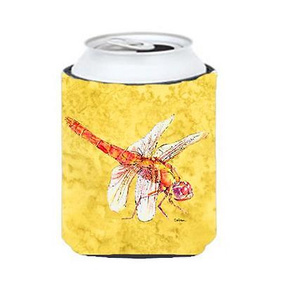 Carolines Treasures Dragonfly On Yellow Can Or bottle sleeve Hugger 12 oz.