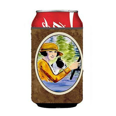 Woman Driving With Her Boston Terrier Can Or bottle sleeve Hugger 12 oz.