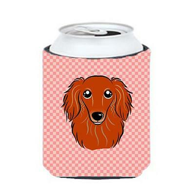 Checkerboard Pink Longhair Red Dachshund Can Or Bottle Hugger, 12 Oz.