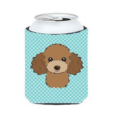 Checkerboard Blue Chocolate Brown Poodle Can Or Bottle Hugger, 12 Oz.