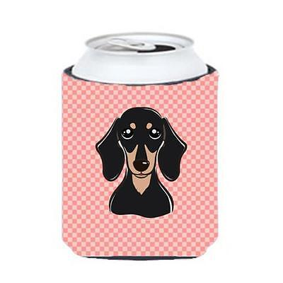 Checkerboard Pink Smooth Black And Tan Dachshund Can Or Bottle Hugger, 12 Oz.