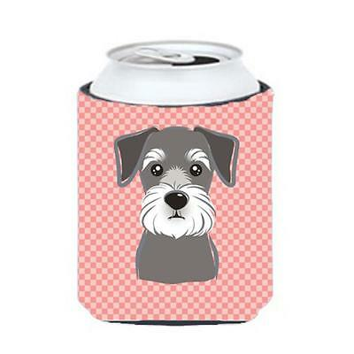 Carolines Treasures Checkerboard Pink Schnauzer Can Or Bottle Hugger, 12 Oz.