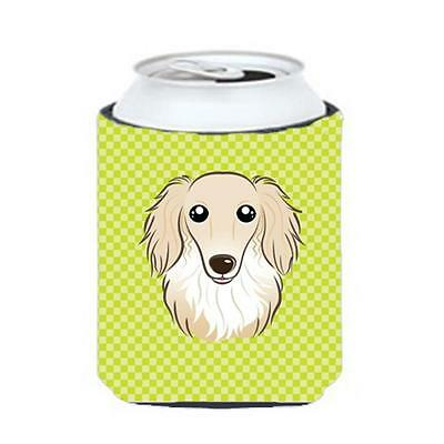 Checkerboard Lime Green Longhair Creme Dachshund Can Or Bottle Hugger, 12 Oz.