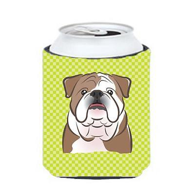 Checkerboard Lime Green English Bulldog Can Or Bottle Hugger, 12 Oz.