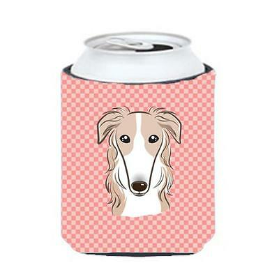 Carolines Treasures Checkerboard Pink Borzoi Can Or Bottle Hugger, 12 Oz.