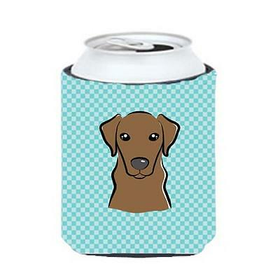 Checkerboard Blue Chocolate Labrador Can Or Bottle Hugger, 12 Oz.