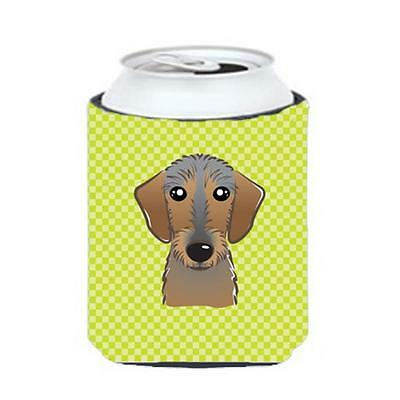 Checkerboard Lime Green Wirehaired Dachshund Can Or Bottle Hugger, 12 Oz.
