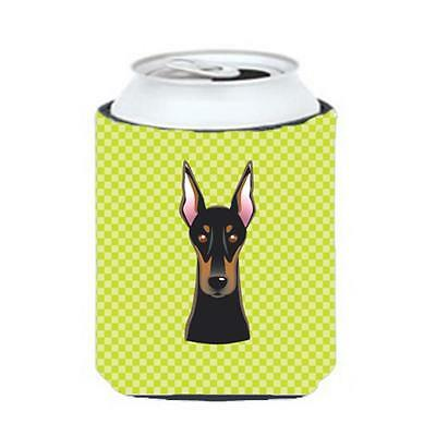 Checkerboard Lime Green Doberman Can Or Bottle Hugger, 12 Oz.