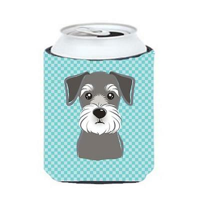 Carolines Treasures Checkerboard Blue Schnauzer Can Or Bottle Hugger, 12 Oz.