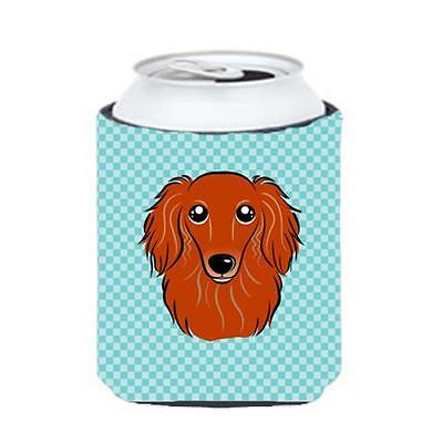 Checkerboard Blue Longhair Red Dachshund Can Or Bottle Hugger, 12 Oz.