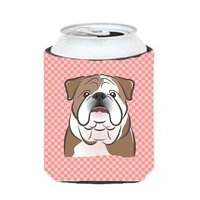 Checkerboard Pink English Bulldog Can Or Bottle Hugger, 12 Oz.