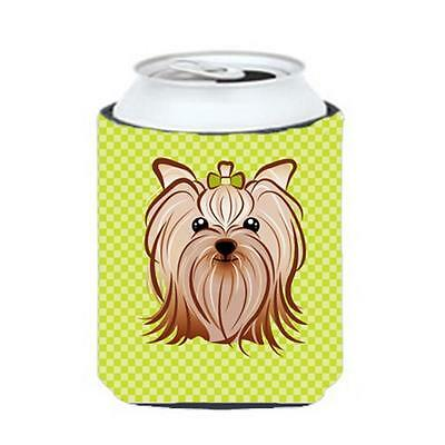 Checkerboard Lime Green Yorkie Yorkishire Terrier Can Or Bottle Hugger, 12 Oz.