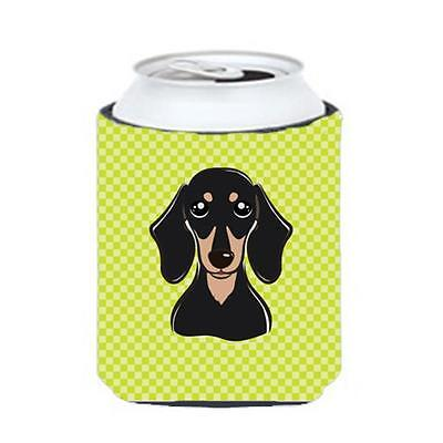 Checkerboard Lime Green Smooth Black And Tan Dachshund Can Or Bottle Hugger, ...
