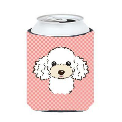 Carolines Treasures Checkerboard Pink White Poodle Can Or Bottle Hugger, 12 Oz.
