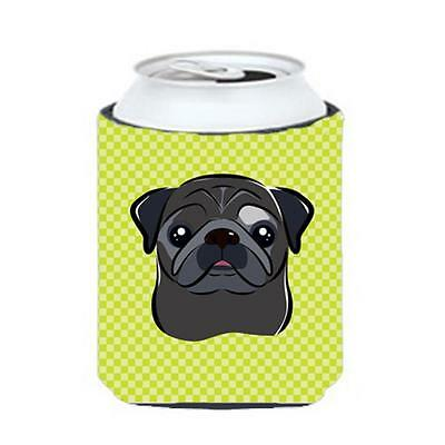 Checkerboard Lime Green Black Pug Can Or Bottle Hugger, 12 Oz.