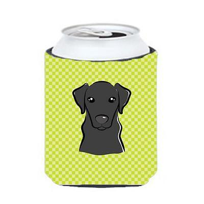 Checkerboard Lime Green Black Labrador Can Or Bottle Hugger, 12 Oz.