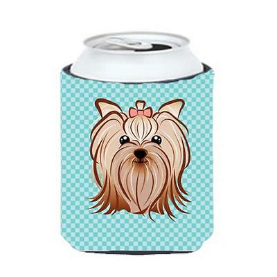 Checkerboard Blue Yorkie Yorkishire Terrier Can Or Bottle Hugger, 12 Oz.