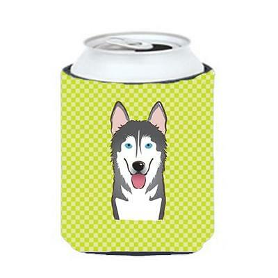 Checkerboard Lime Green Alaskan Malamute Can Or Bottle Hugger, 12 Oz.