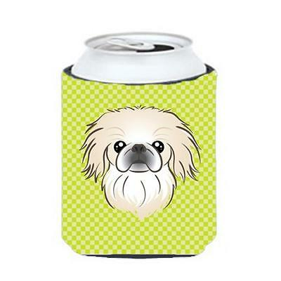 Checkerboard Lime Green Pekingese Can Or Bottle Hugger, 12 Oz.