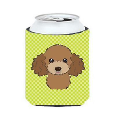 Checkerboard Lime Green Chocolate Brown Poodle Can Or Bottle Hugger, 12 Oz.