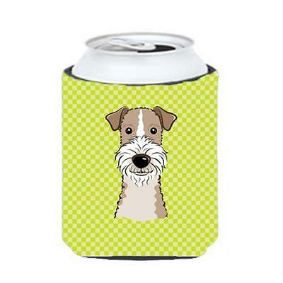 Checkerboard Lime Green Wire Haired Fox Terrier Can Or Bottle Hugger, 12 Oz.