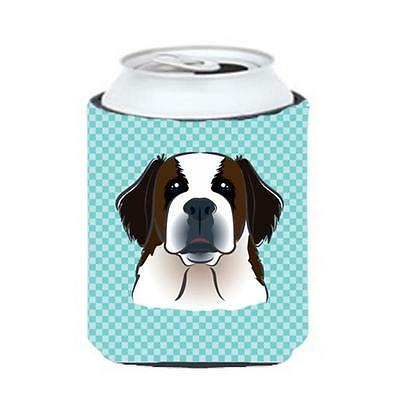 Carolines Treasures Checkerboard Blue Saint Bernard Can Or Bottle Hugger, 12 Oz.