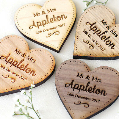 Wedding Table Decorations Personalised Name Place Setting Wooden LARGE Hearts