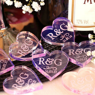 Personalised Love Hearts Mr & Mrs Wedding Table Decoration Favours