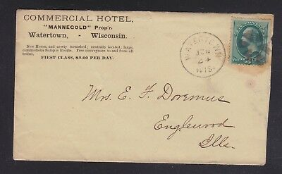Usa 1879 Commercial Hotel Cover & Part Letterhead Watertown Wisconsin